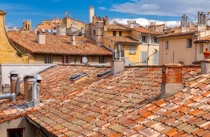 Aix-en-Provence Vista dos telhados telhados da cidade velha fotografia de stock