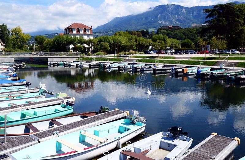 The Grand Port with its boats and lake Bourget view in the town of Aix les Bains in the. Aix-les-Bain, France - September 3, 2017: The Grand Port with its boats stock photography