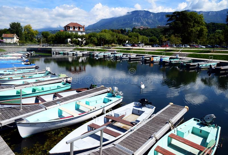 The Grand Port with its boats and lake Bourget view in the town of Aix les Bains in the. Aix-les-Bain, France - September 3, 2017: The Grand Port with its boats royalty free stock photos