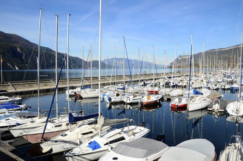 Aix-les-Bains, Bourget lake marina, Savoy, France. Aix-les-Bains, Bourget lake marina, harbour of sailboats and motorboats, Savoy, France stock image