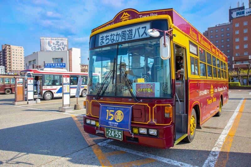 Aizu-Schleifen-Bus in Aizuwakamatsu, Japan lizenzfreie stockfotos