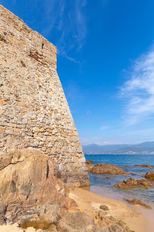 Ajácio, La Citadelle Parede de pedra velha da fortaleza foto de stock royalty free
