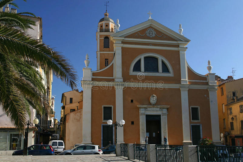 Ajaccio. Streets of Ajaccio and a church stock image