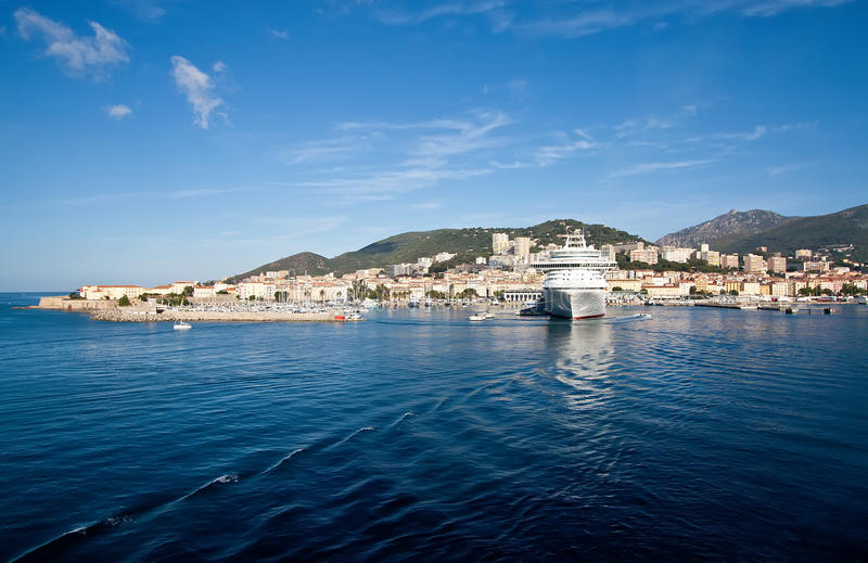 Ajaccio. Is located on the west coast of the island of Corsica stock images