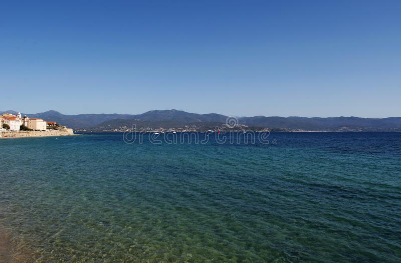 Ajaccio, Ajaccio Cathedral, Corsica, Corse du Sud, Southern Corsica, France, Europe. Corsica, 01/09/2017: the skyline of Ajaccio, the famous city on the west stock images