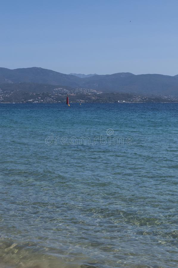 Ajaccio, beach, Corsica, Corse du Sud, Southern Corsica, France, Europe. Corsica, 01/09/2017: crystal clear water of the Mediterranean Sea at the urban beach of stock photos