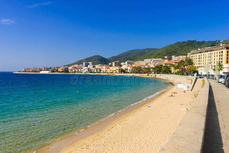 Ajaccio Beach. The beach of Ajaccio, Corsica, France stock photography