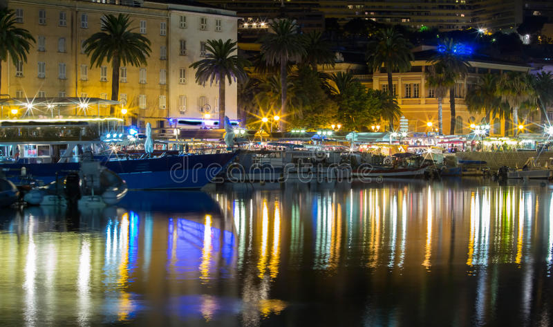The Ajaccio city at night. The Ajaccio city at night, Corsica island , France stock photography