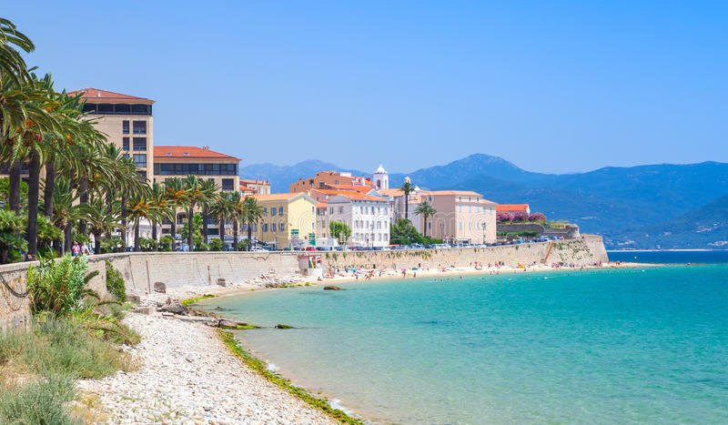 Ajaccio cityscape, Corsica island, France. Beach. And old houses on a coastal street stock photos