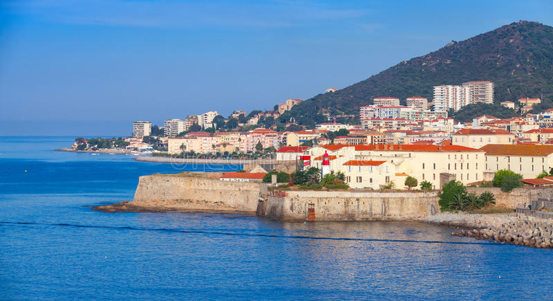 Ajaccio, coastal cityscape, Corsica island, France. Ajaccio, coastal cityscape with ancient citadel, Corsica island, France royalty free stock photos