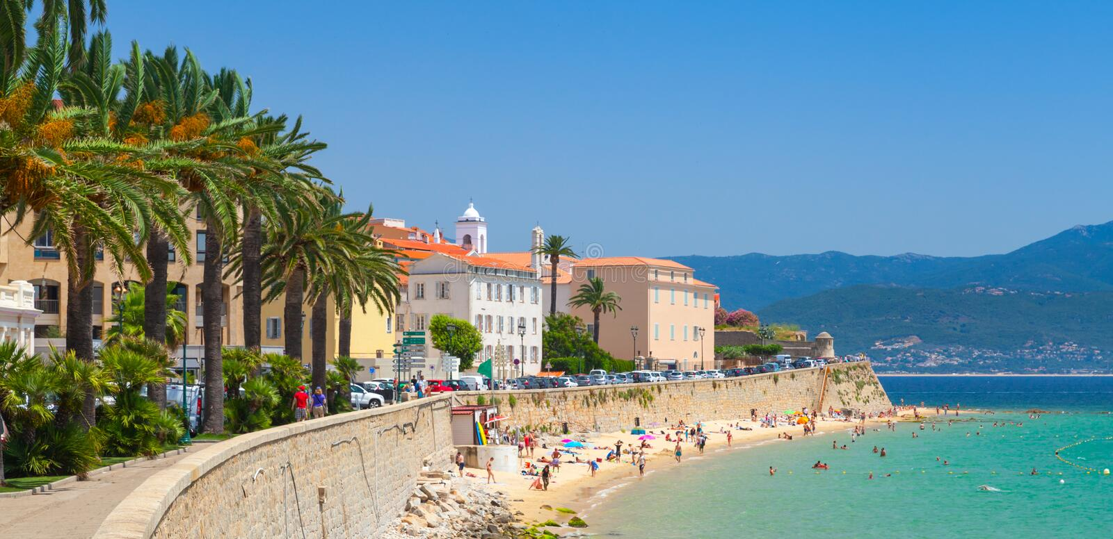 Ajaccio, Corsica, France. Coastal cityscape. Panorama royalty free stock photography