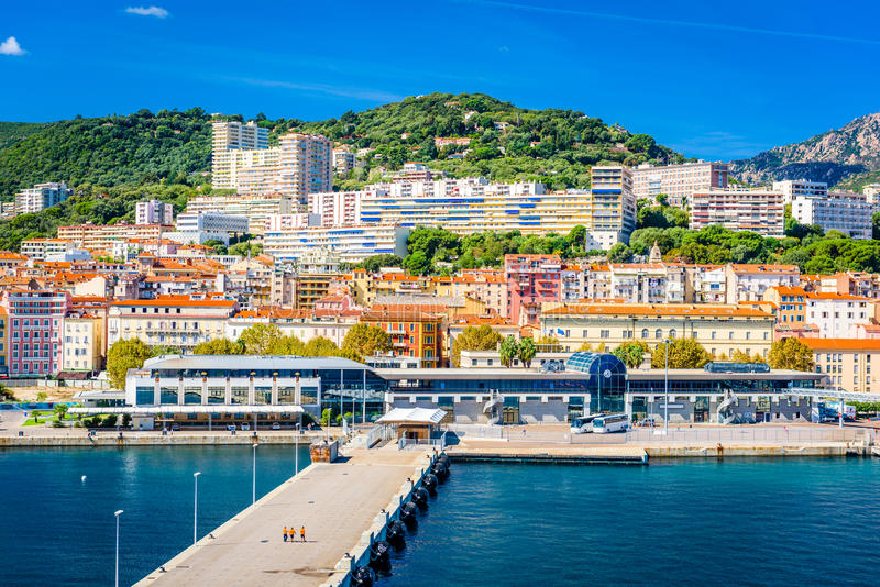Ajaccio, Corsica, France. Coastal skyline royalty free stock image