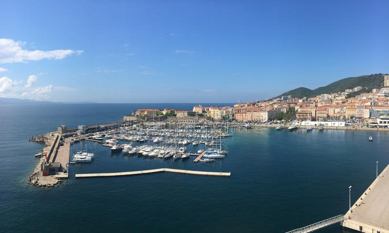 Ajaccio, Corsica, France. Panoramic view of the old town and marina of Ajaccio, the capital of stock image