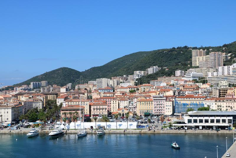 Ajaccio, Corsica, France. View from a cruise ship on marina and the historic center of Ajaccio, the capital of Corsica, a French island in the Mediterranean Sea stock photo