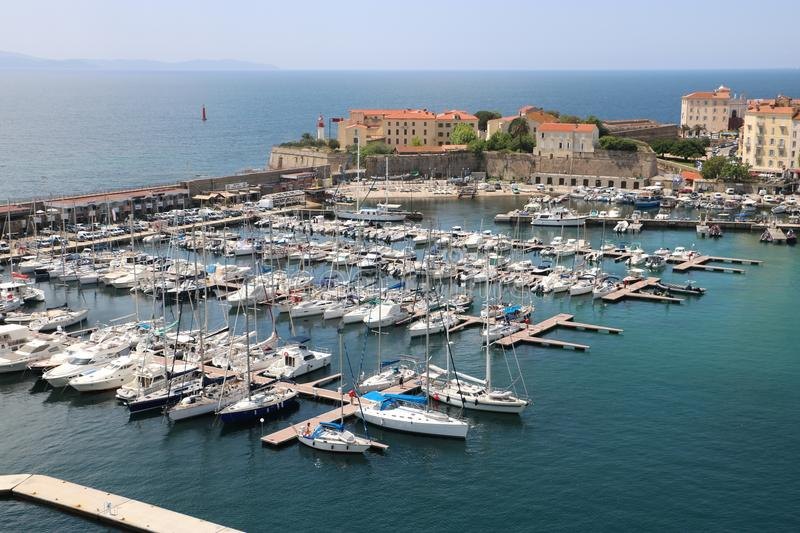 Ajaccio, Corsica, France. View from a cruise ship on marina and the historic center of Ajaccio, the capital of Corsica, a French island in the Mediterranean Sea royalty free stock image