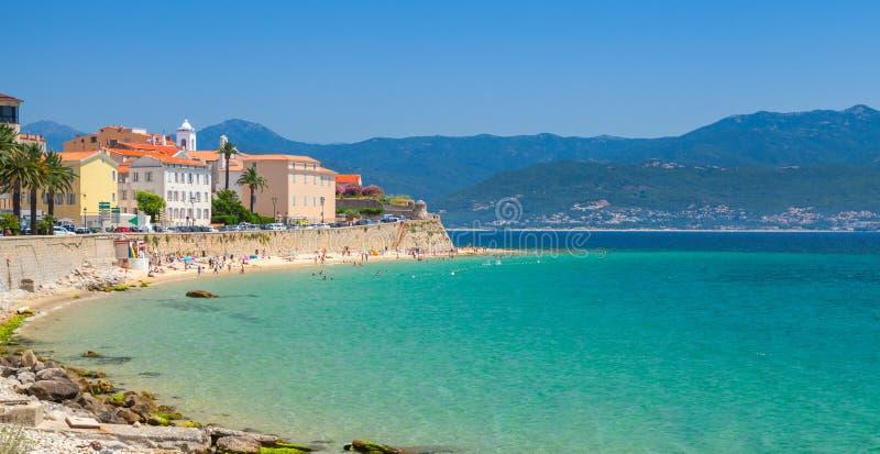 Ajaccio, Corsica island, France. Coastal cityscape. Panorama royalty free stock photo