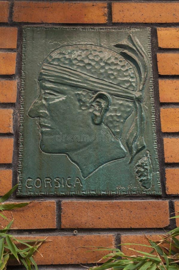 Ajaccio, Citadel, Corsica, Corse du Sud, Southern Corsica, France, Europe. Ajaccio, Corsica, 29/08/2017: a Moor`s Head wearing a bandana above his eyes and stock image