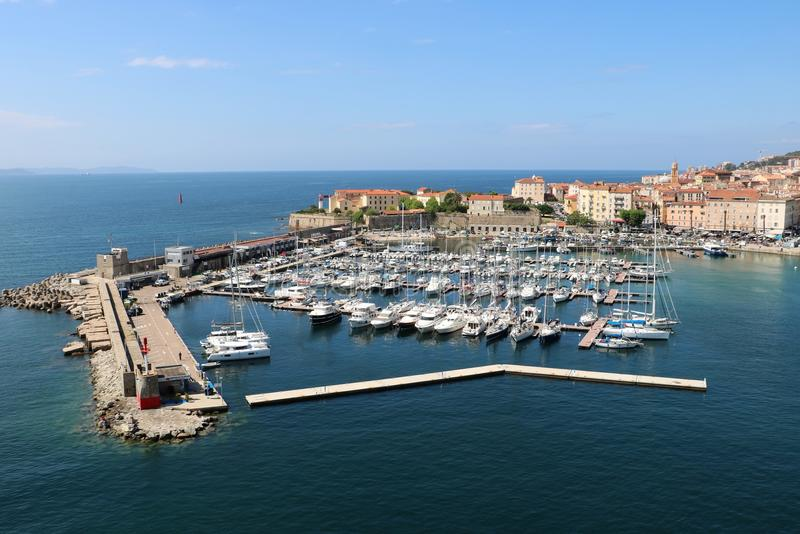 Ajaccio, France. View from a cruise ship on marina and the historic center of Ajaccio, the capital of Corsica, a French island in the Mediterranean Sea. Ajaccio stock image