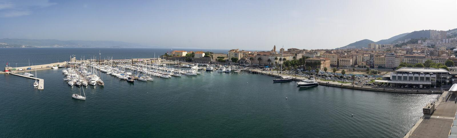 Ajaccio Harbour. Corsica France taken on several images and stitched in Photoshop stock photography