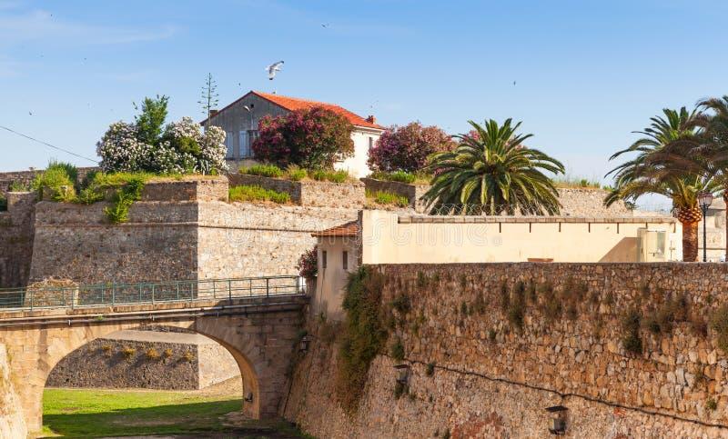 Ajaccio, La Citadelle Oude steenvesting en brug royalty-vrije stock fotografie