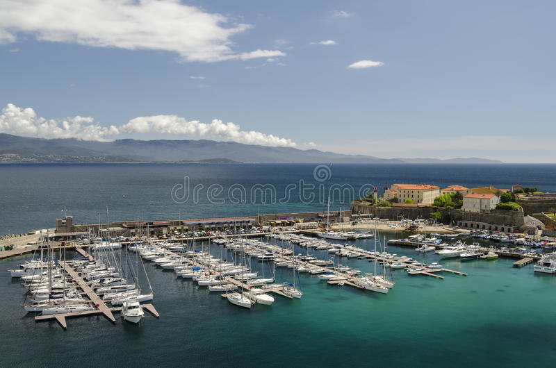 Ajaccio marina. Luxury boats and yachts in the marina of Ajaccio, Corsica royalty free stock photos