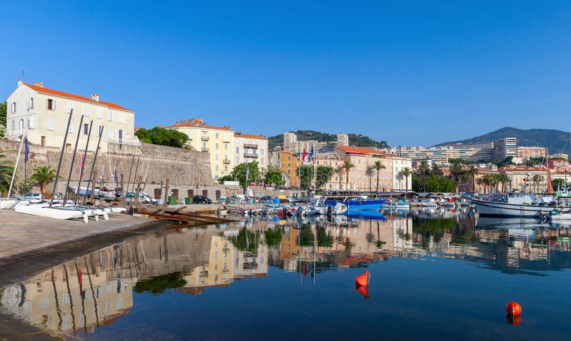 Ajaccio, old port, Corsica island, France. Moored fishing boats in old port of Ajaccio, Corsica island, France stock image