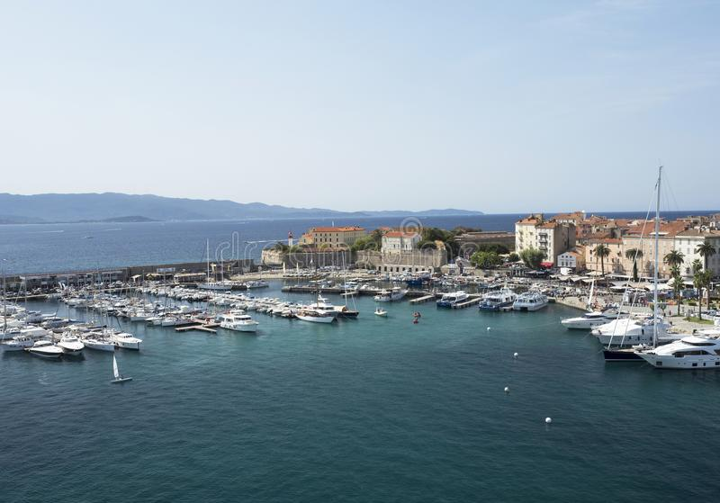 Ajaccio sea bay. Ajaccio harbor with moored yachts and pleasure boats, Corsica island, France stock photography