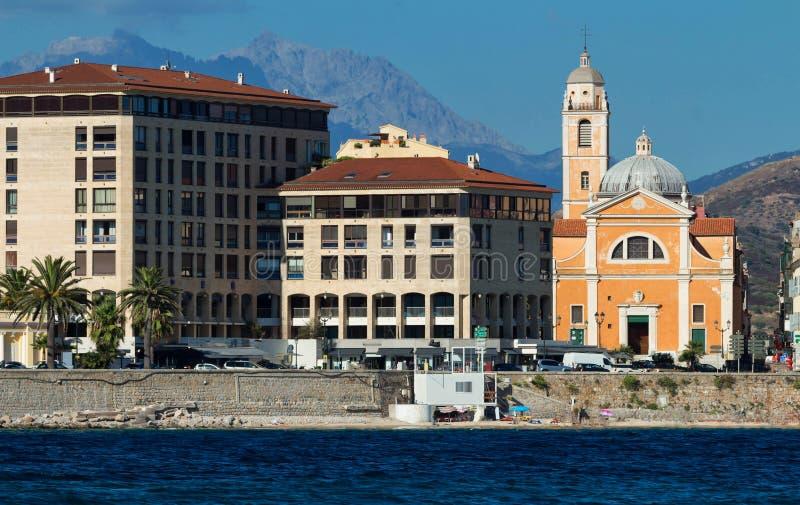 Download Ajaccio-Stadtbild Mit Blauem Meer Auf Der Insel Korsika, Frankreich Stockfoto - Bild von liebe, mitte: 96929118