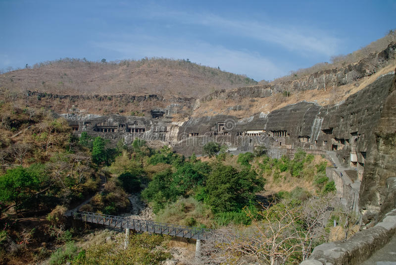 Ajanta caves near Aurangabad, Maharashtra state in India. Amazing site of ancient buddhist temples, carved in the rock as large caves. Started 2nd century BC royalty free stock photos