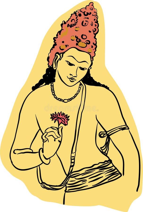 Ajanta Drawing Vector illustration for designs stock illustration