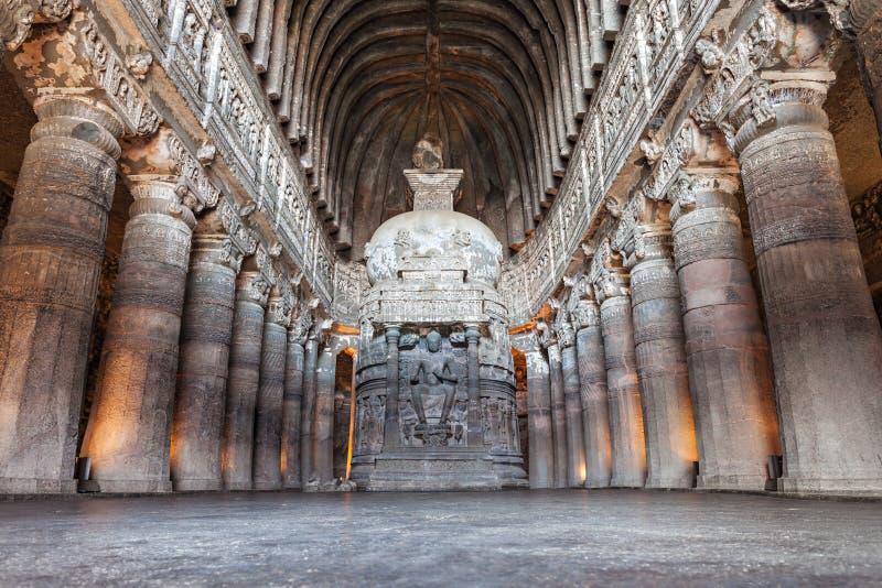 Ajanta-Höhlen, Indien stockfotografie