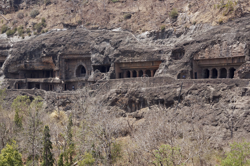 ajanta starożytne buddyjskie świątynie rockowe zdjęcia royalty free