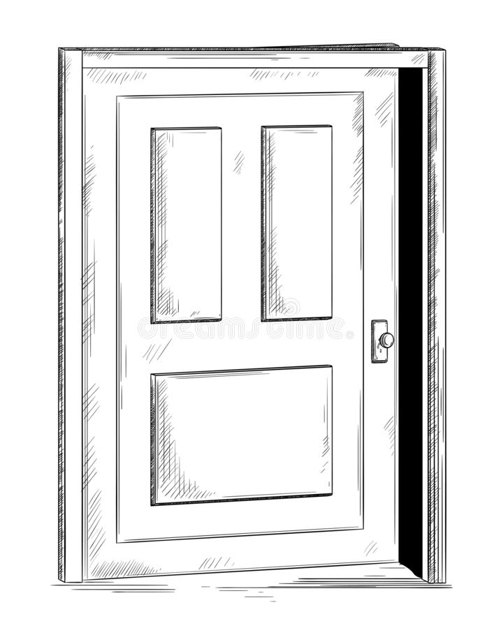 Ajar door. Isolated object on white background. stock photo
