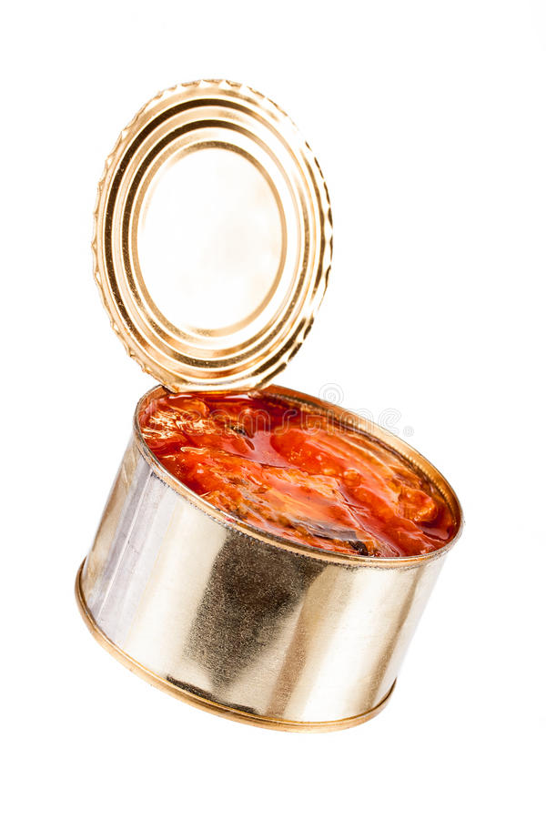 Ajar metallic can with food royalty free stock images