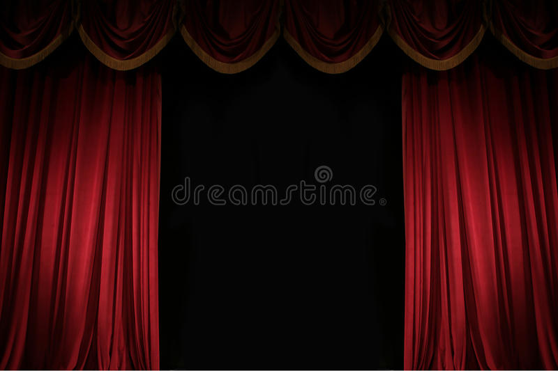 Ajar red curtain. On stage of the theater royalty free stock photo