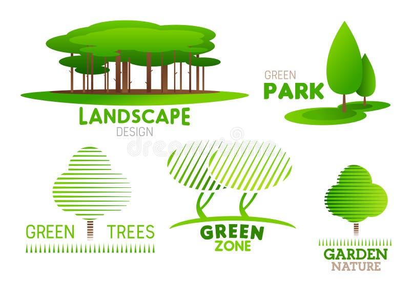 Ajardinando ícones do vetor da árvore do jardim do projeto ilustração royalty free