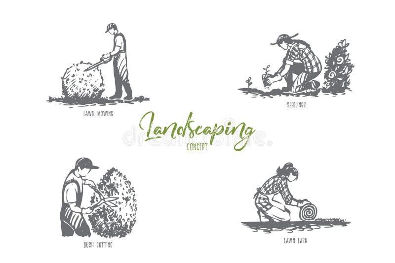 Ajardinando o gramado que sega, plântulas, chicote do gramado, grupo do conceito do vetor do corte do arbusto ilustração royalty free