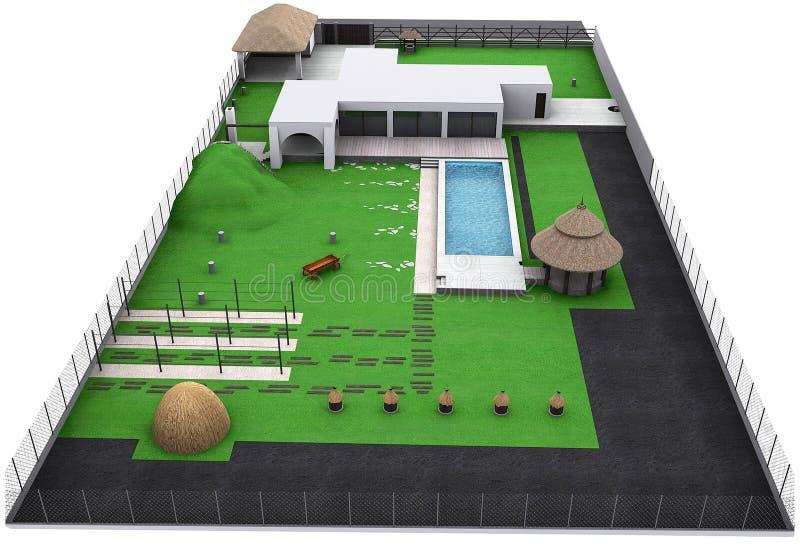 Ajardinando a opinião aérea do quintal do estilo country, 3D rendem ilustração do vetor