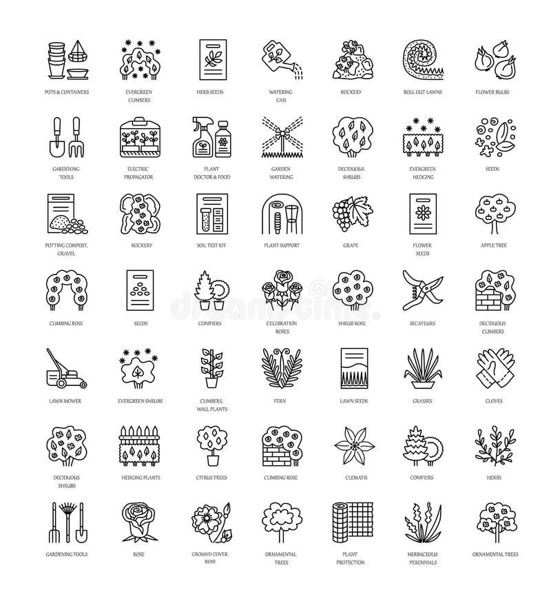 Ajardinar e jardinar Linha coleção do vetor do ícone com árvore ilustração stock
