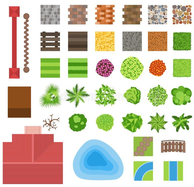 Ajardinar elementos del diseño del jardín stock de ilustración