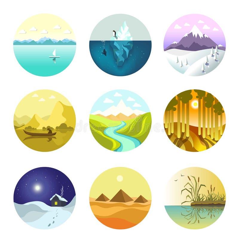 Ajardine ícones do vetor da natureza das montanhas, do oceano e da floresta ilustração royalty free