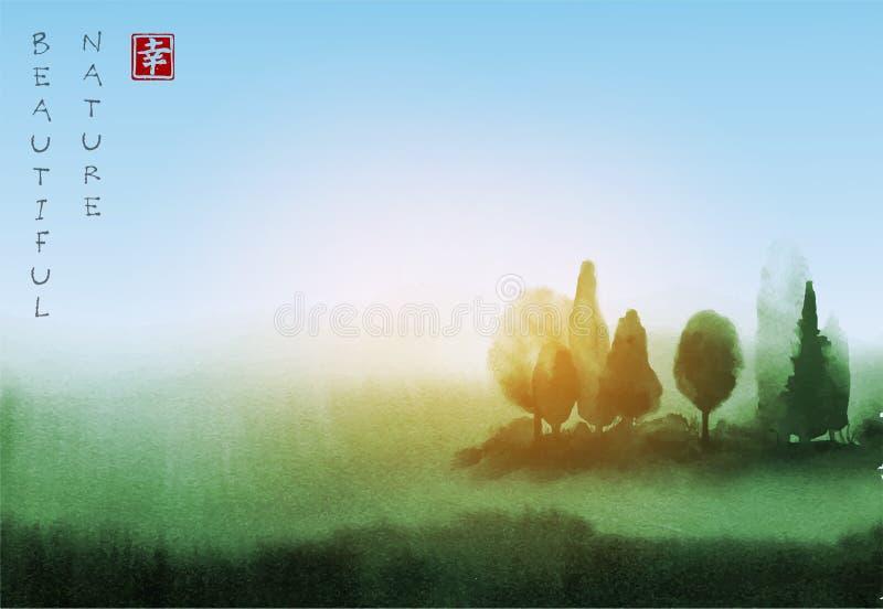 Ajardine com as árvores sob a mão da luz solar tirada com Sumi-e oriental tradicional da pintura da tinta, u-pecado, ir-hua ilustração do vetor