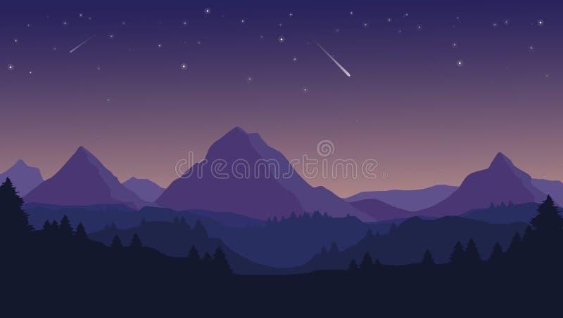 Ajardine com as silhuetas de montanhas, montes e floresta e céu noturno azuis com estrelas ilustração stock