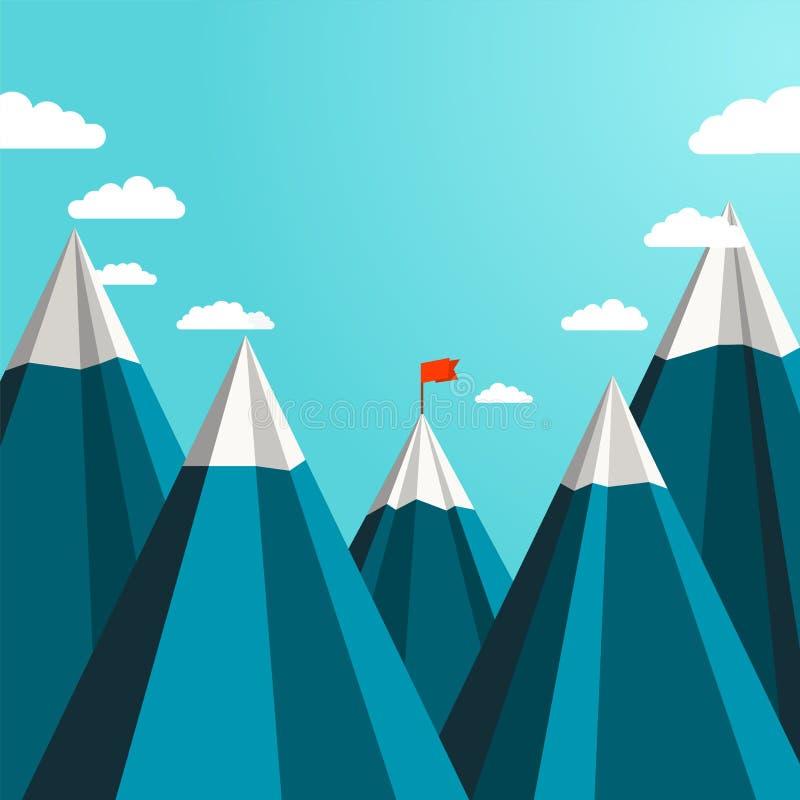 Ajardine com a bandeira vermelha na parte superior das montanhas na distância ilustração do vetor