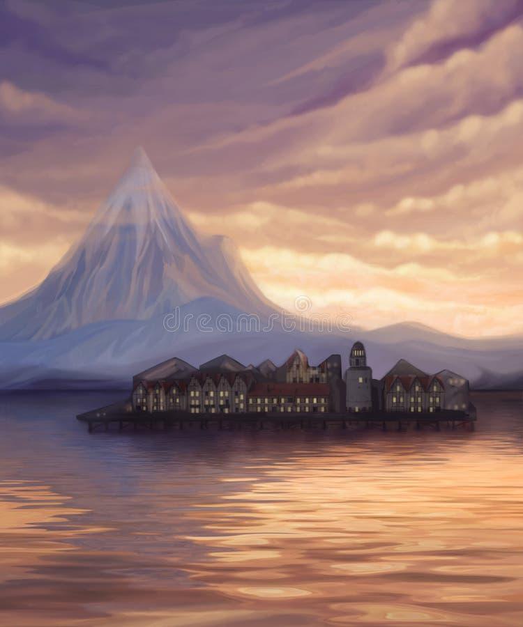 ajardine com lago, montanha e cidade na água ilustração stock
