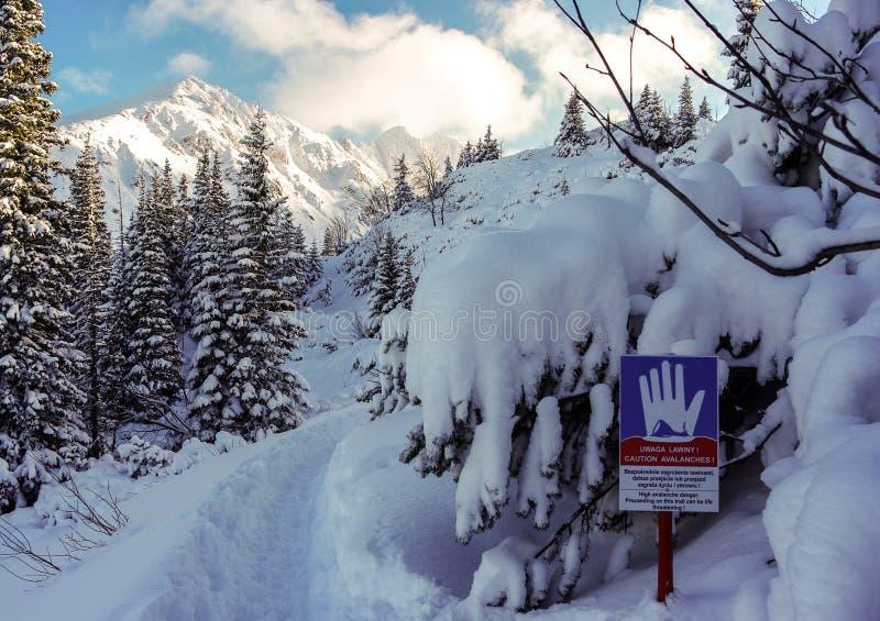 Ajardine com um aviso do sinal do perigo das avalanchas Tatry fotografia de stock royalty free