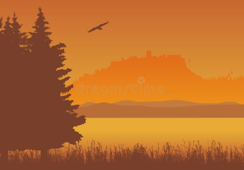 Ajardine con el lago, la hierba y los árboles con la silueta del castillo r ilustración del vector