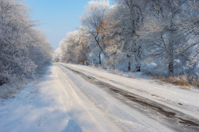 Ajardine con la carretera nacional resbaladiza que lleva al pueblo de Novo-Nikolaevka en el oblast de Dnepropetrovskaya, Ucrania foto de archivo