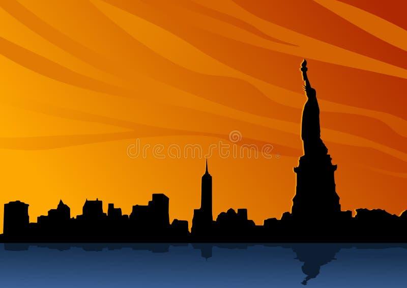 Ajardine con la silueta típica del horizonte de Nueva York con la estatua de la libertad stock de ilustración