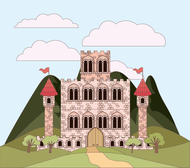 Ajardine con las montañas y las princesas se escudan en silueta colorida stock de ilustración